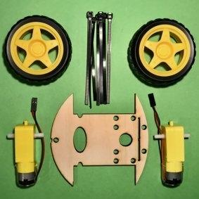 Callibot-Bausatz - Bestandteile der  Fahrroboter-Plattform