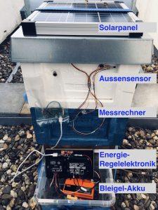 Versuchsaufbau für die energieautarke Temperaturmessung im Bienenstock